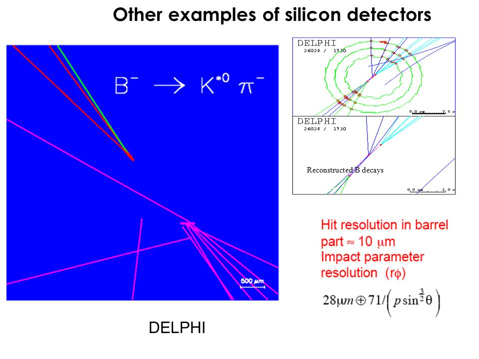 Reconstructed B decays Other examples of silicon detectors DELPHI