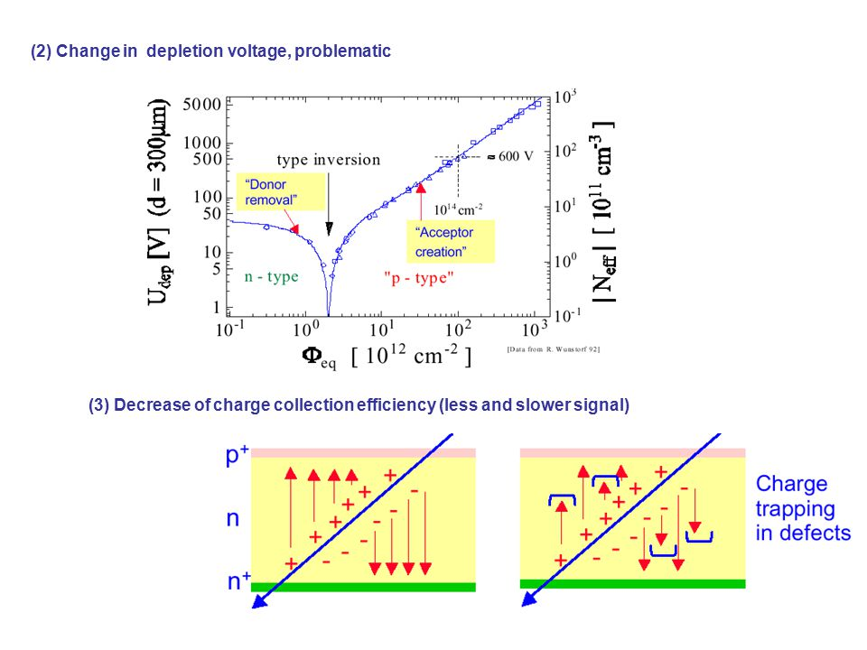 (2) Change in depletion voltage, problematic (3) Decrease of charge collection efficiency (less and slower signal)