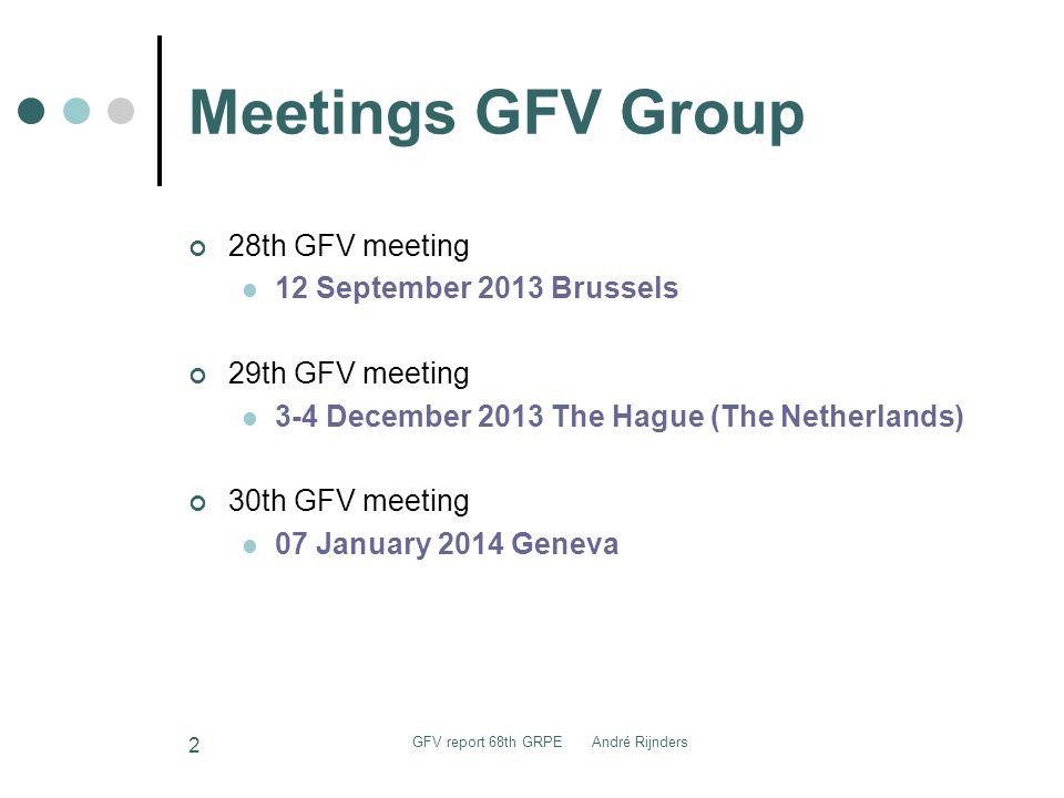 Meetings GFV Group 28th GFV meeting 12 September 2013 Brussels 29th GFV meeting 3-4 December 2013 The Hague (The Netherlands) 30th GFV meeting 07 Janu
