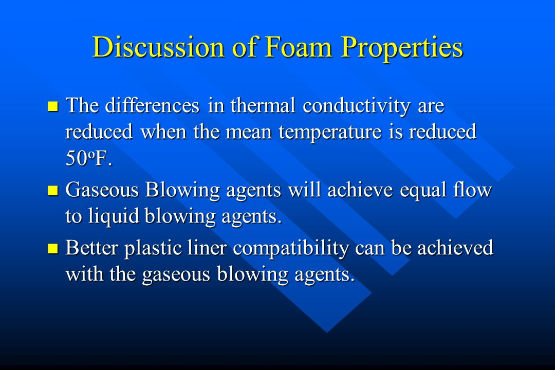 Discussion of Foam Properties The differences in thermal conductivity are reduced when the mean temperature is reduced 50 o F. The differences in ther