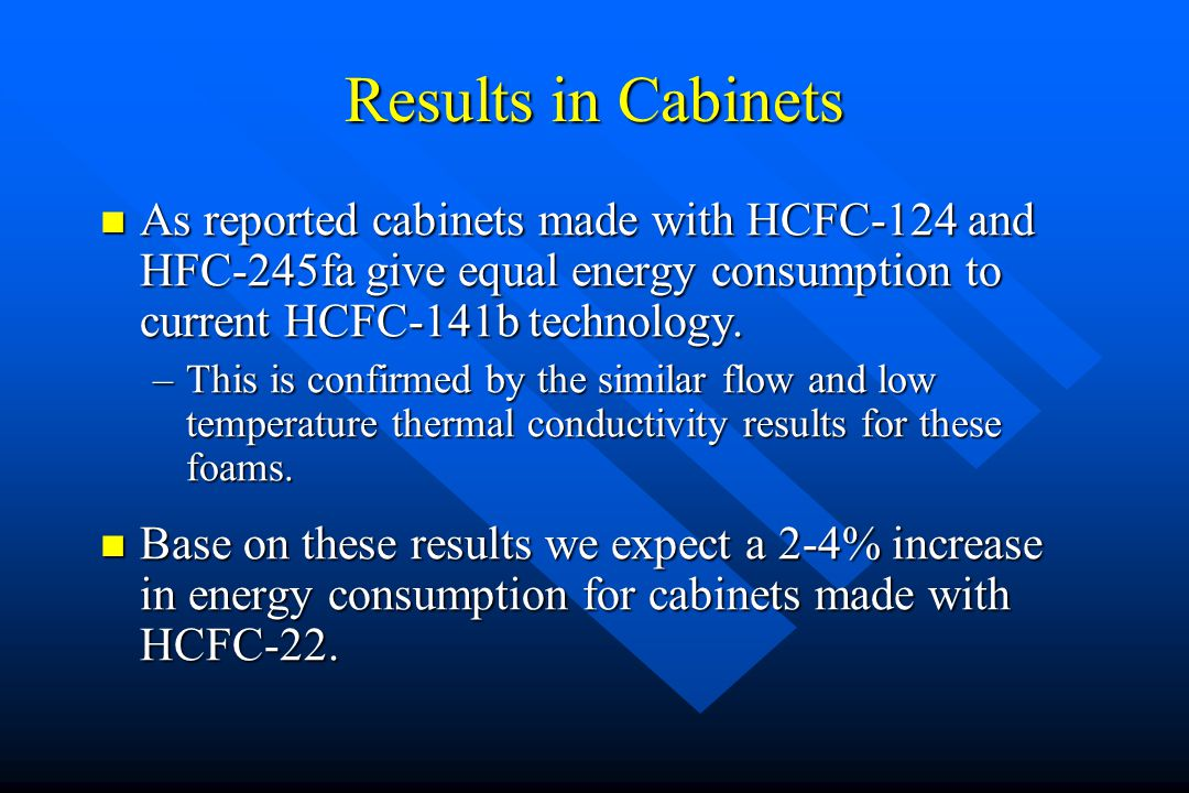 Results in Cabinets As reported cabinets made with HCFC-124 and HFC-245fa give equal energy consumption to current HCFC-141b technology. As reported c