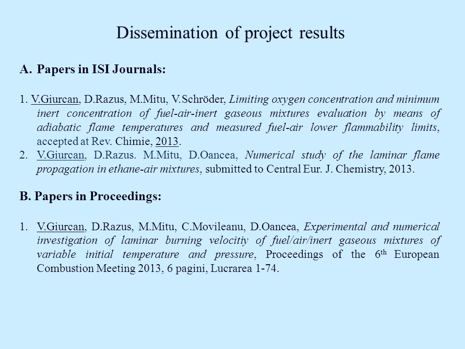 Dissemination of project results A.Papers in ISI Journals: 1.