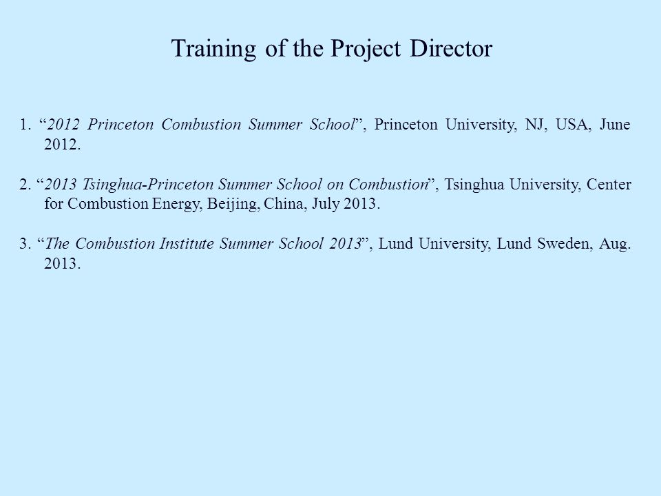 Training of the Project Director 1.