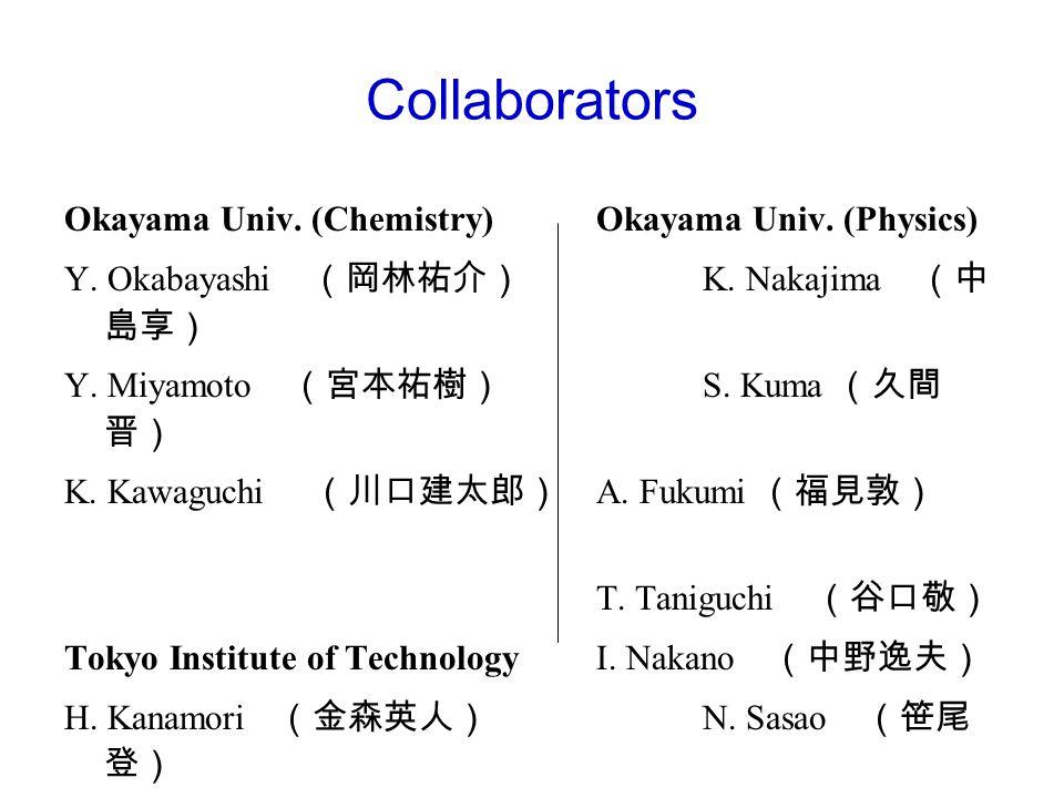 Collaborators Okayama Univ.(Chemistry) Okayama Univ.