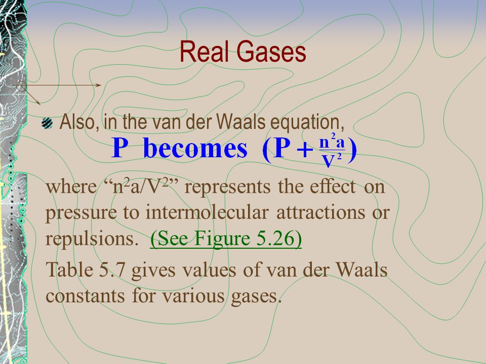 """Real Gases Also, in the van der Waals equation, where """"n 2 a/V 2 """" represents the effect on pressure to intermolecular attractions or repulsions. (See"""