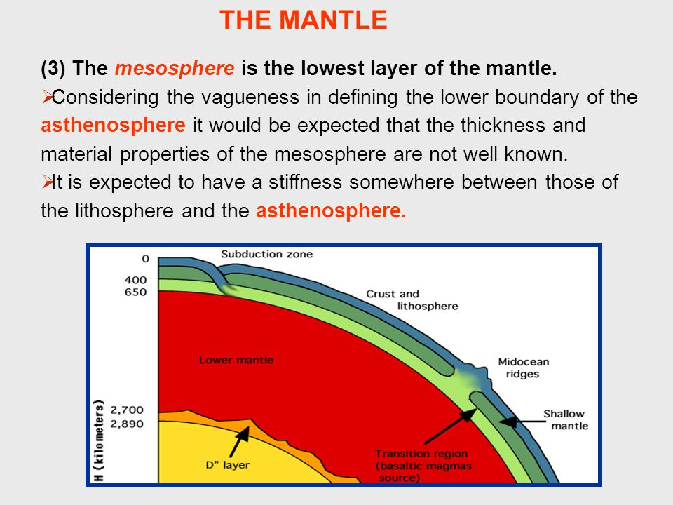 THE MANTLE (3) The mesosphere is the lowest layer of the mantle.