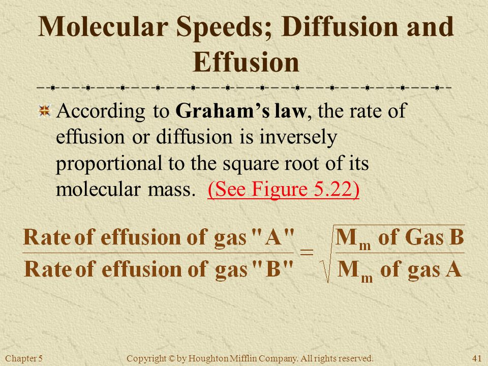 Chapter 541 Copyright © by Houghton Mifflin Company. All rights reserved. Molecular Speeds; Diffusion and Effusion According to Graham's law, the rate