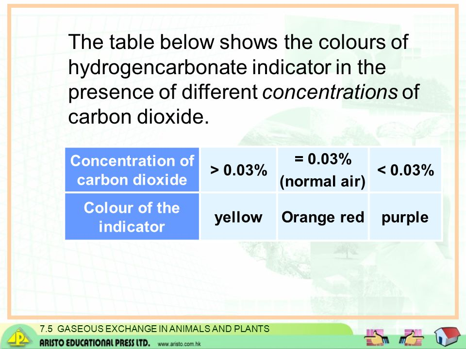 7.5 GASEOUS EXCHANGE IN ANIMALS AND PLANTS The table below shows the colours of hydrogencarbonate indicator in the presence of different concentrations of carbon dioxide.