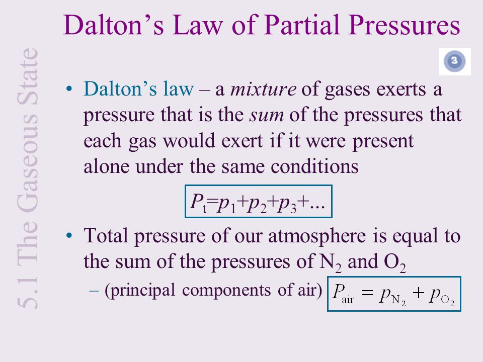 Dalton's law – a mixture of gases exerts a pressure that is the sum of the pressures that each gas would exert if it were present alone under the same