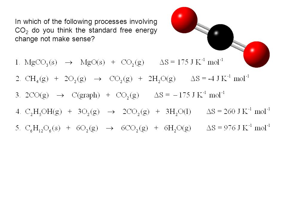 In which of the following processes involving CO 2 do you think the standard free energy change not make sense?