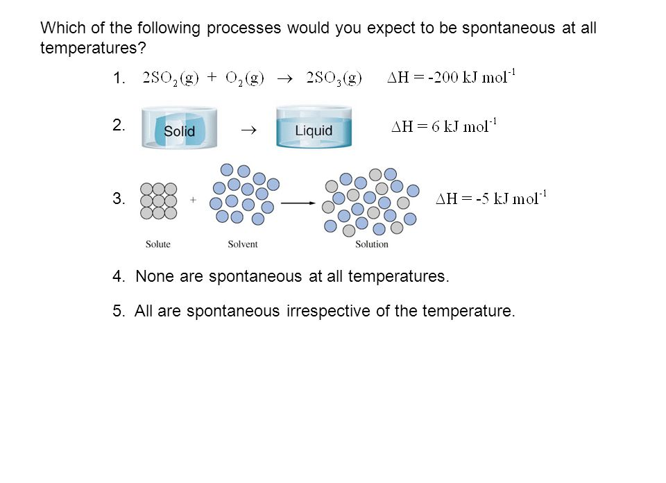 Which of the following processes would you expect to be spontaneous at all temperatures? 4. None are spontaneous at all temperatures. 5. All are spont