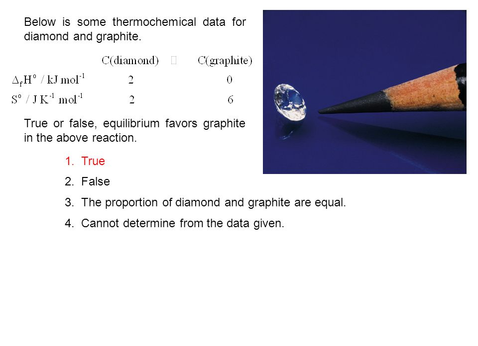 Below is some thermochemical data for diamond and graphite. True or false, equilibrium favors graphite in the above reaction. 1. True 2. False 3. The