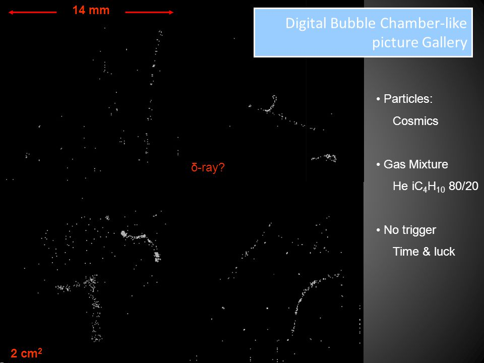Digital Bubble Chamber-like picture Gallery 14 mm 2 cm 2 Particles: Cosmics Gas Mixture He iC 4 H 10 80/20 No trigger Time & luck δ-ray