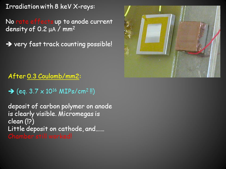 Irradiation with 8 keV X-rays: No rate effects up to anode current density of 0.2 μA / mm 2  very fast track counting possible! After 0.3 Coulomb/mm2