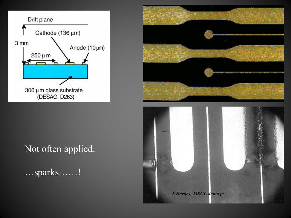 Not often applied: …sparks……! F.Hartjes, MSGC damage