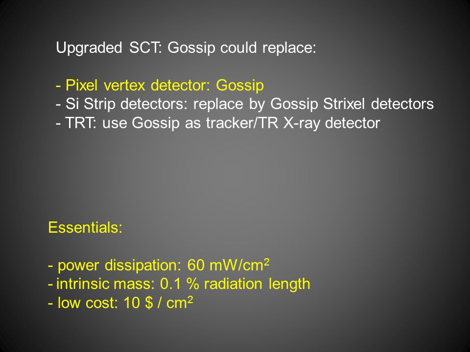 Upgraded SCT: Gossip could replace: - Pixel vertex detector: Gossip - Si Strip detectors: replace by Gossip Strixel detectors - TRT: use Gossip as tra