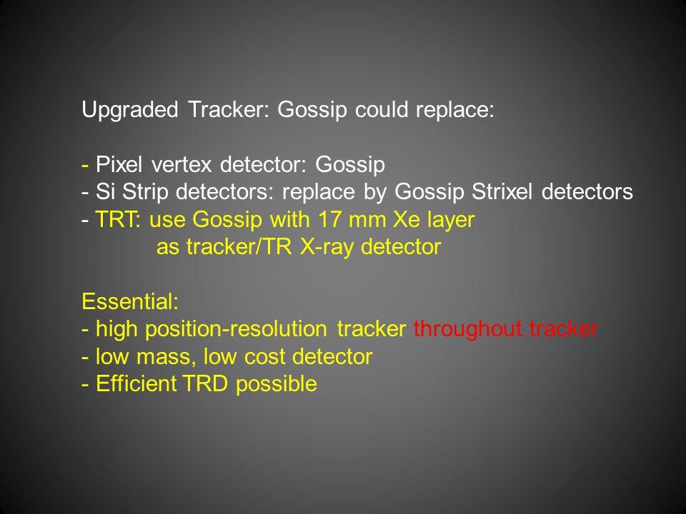 Upgraded Tracker: Gossip could replace: - Pixel vertex detector: Gossip - Si Strip detectors: replace by Gossip Strixel detectors - TRT: use Gossip wi