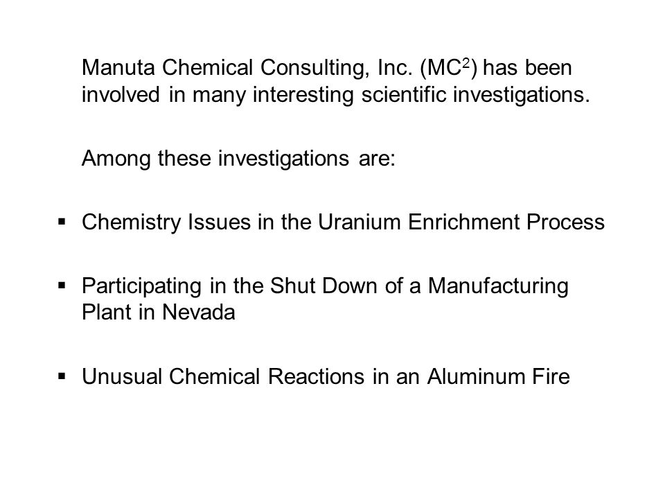 Manuta Chemical Consulting, Inc.