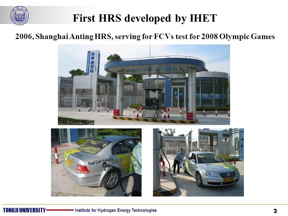 3 TONGJI UNIVERSITY Institute for Hydrogen Energy Technologies First HRS developed by IHET 2006, Shanghai Anting HRS, serving for FCVs test for 2008 O