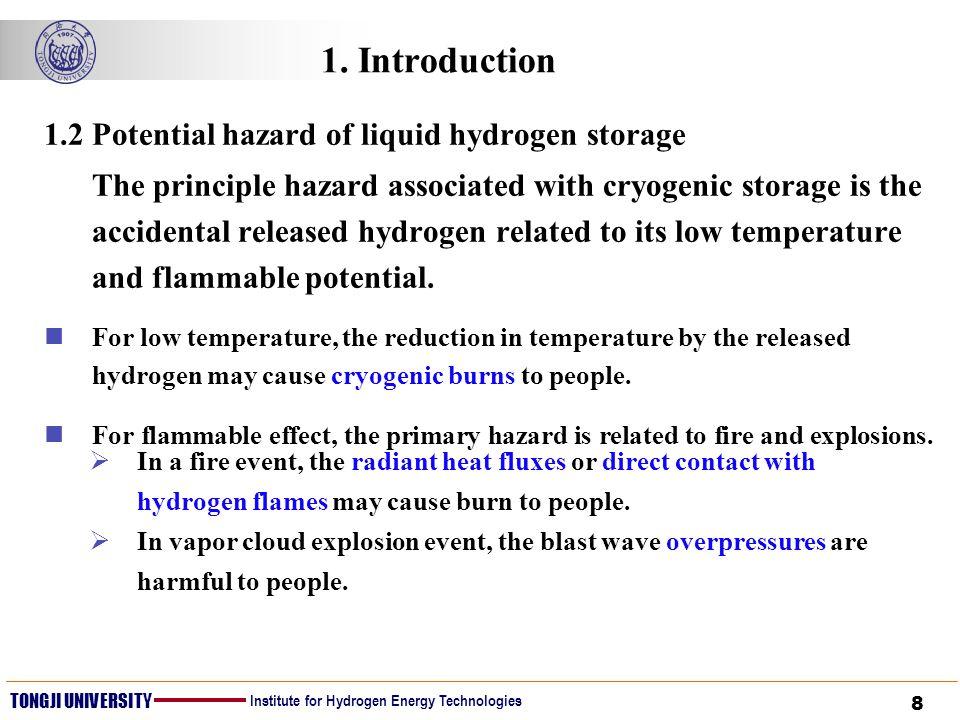 8 TONGJI UNIVERSITY Institute for Hydrogen Energy Technologies 1. Introduction 1.2 Potential hazard of liquid hydrogen storage The principle hazard as