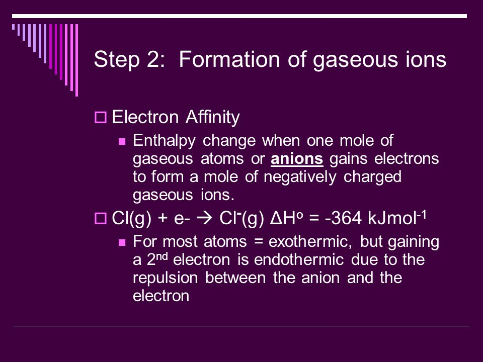 Step 2: Formation of gaseous ions  Electron Affinity Enthalpy change when one mole of gaseous atoms or anions gains electrons to form a mole of negatively charged gaseous ions.