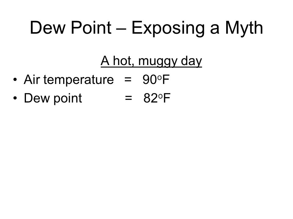 Dew Point – Exposing a Myth A hot, muggy day Air temperature = 90 o F Dew point = 82 o F