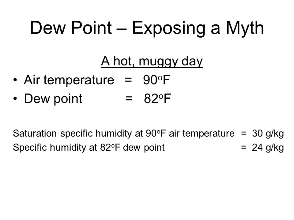 Dew Point – Exposing a Myth A hot, muggy day Air temperature = 90 o F Dew point = 82 o F Saturation specific humidity at 90 o F air temperature = 30 g/kg Specific humidity at 82 o F dew point = 24 g/kg