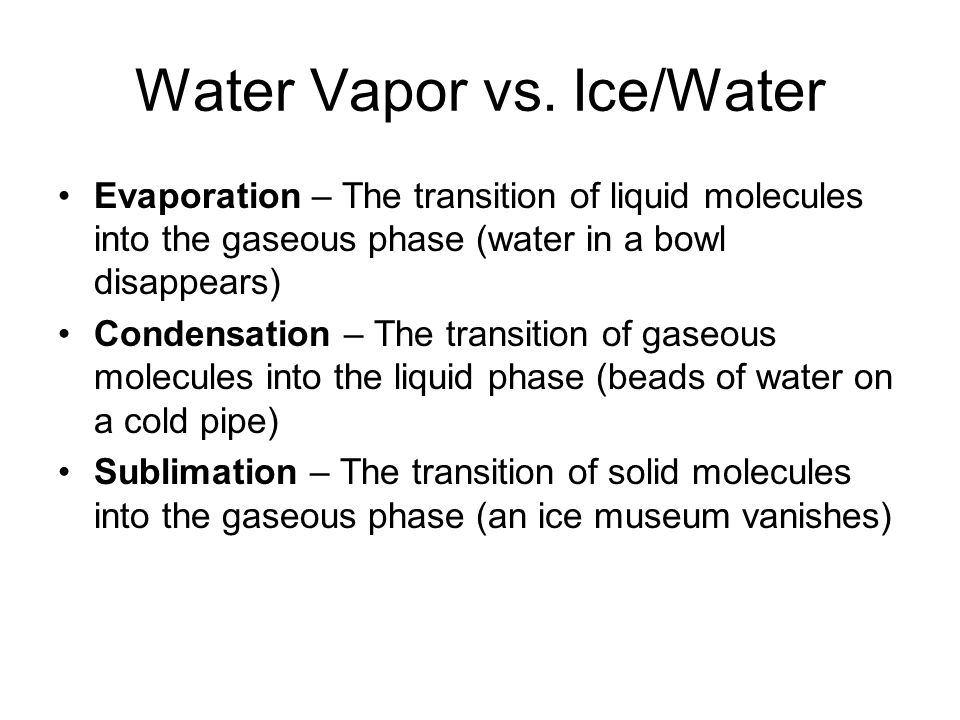 Condensation and Aerosols Nucleation – the formation of an airborne water droplet by condensation Homogeneous nucleation – the formation of water droplets by random collisions of water vapor molecules in the absence of aerosols Surface tension squeezes the water droplet, forcing rapid evaporation ~400% saturation needed for cloud formation!!!