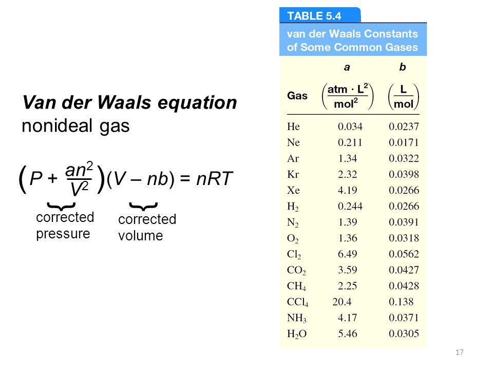 17 Van der Waals equation nonideal gas P + (V – nb) = nRT an 2 V2V2 () } corrected pressure } corrected volume