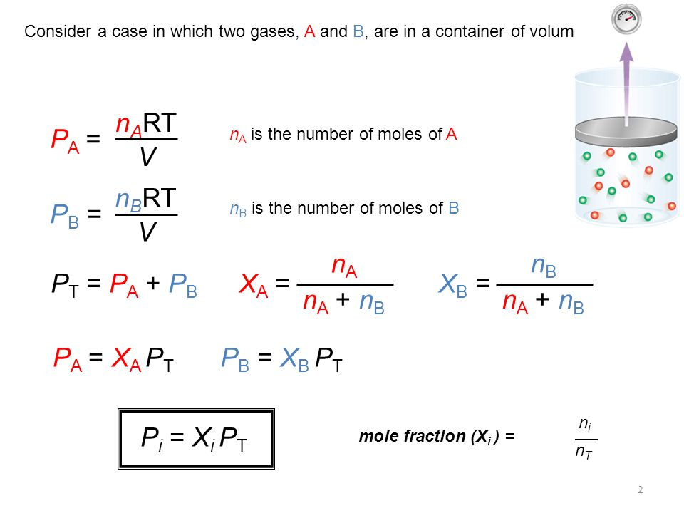 2 Consider a case in which two gases, A and B, are in a container of volume V.