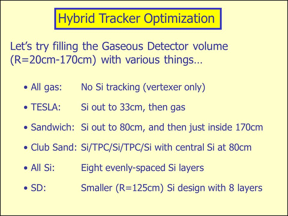 X s R X X Hybrid Trackers – the Best of Both Worlds? In an ideal world, momenta would be determ- ined from three arbitrarily precise r/  points. Opti