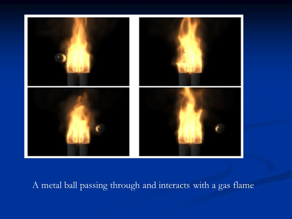 A metal ball passing through and interacts with a gas flame
