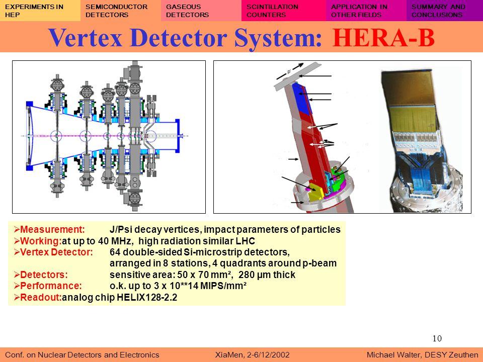 10 Vertex Detector System: HERA-B Conf.