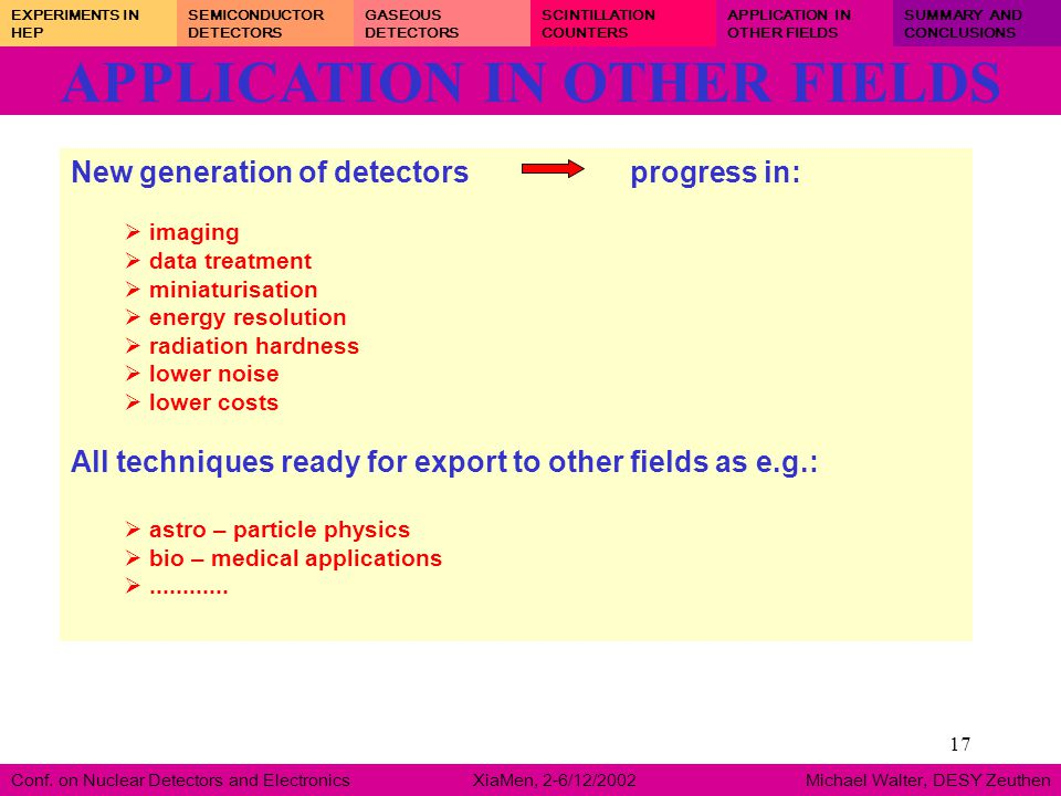 17 APPLICATION IN OTHER FIELDS Conf. on Nuclear Detectors and Electronics XiaMen, 2-6/12/2002 Michael Walter, DESY Zeuthen EXPERIMENTS IN HEP SEMICOND