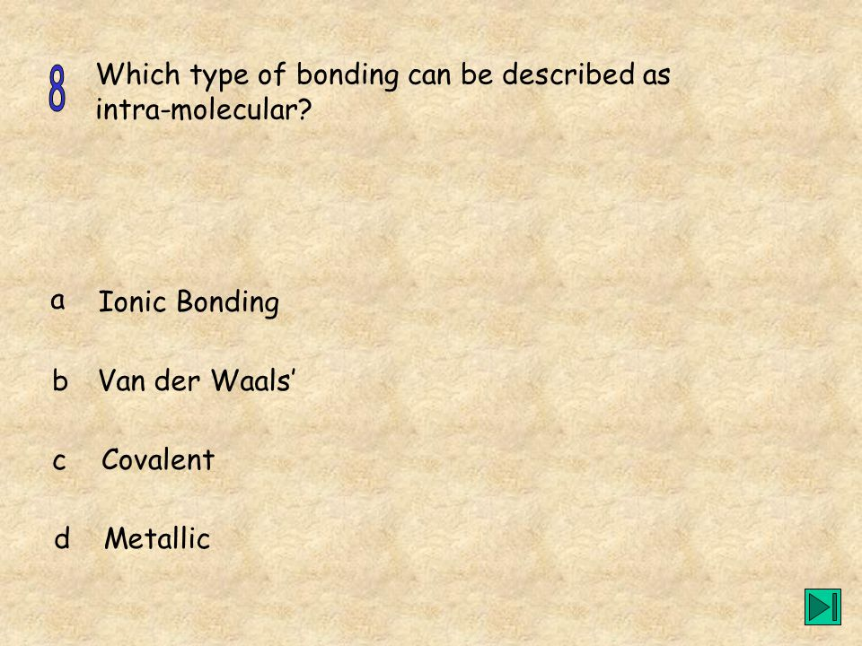 Which type of bonding can be described as intra-molecular.