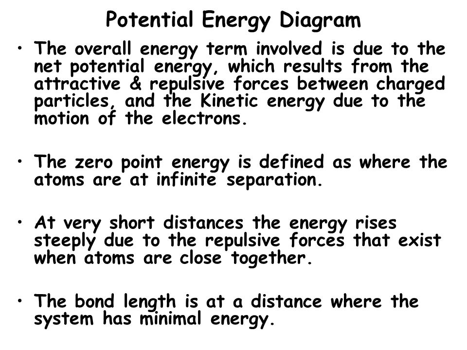 Potential Energy Diagram The overall energy term involved is due to the net potential energy, which results from the attractive & repulsive forces bet