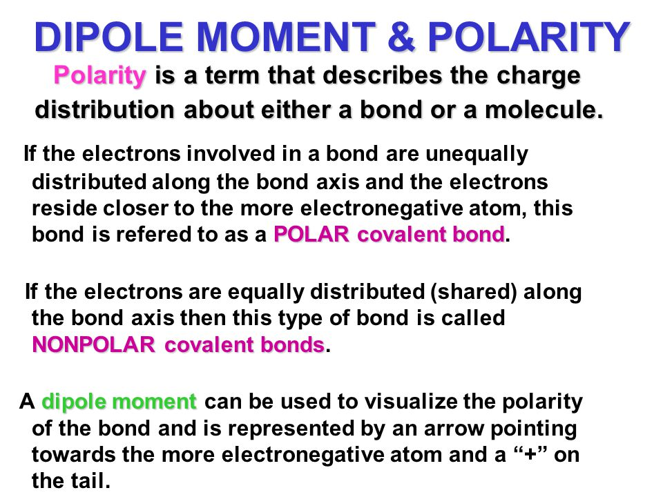 DIPOLE MOMENT & POLARITY Polarity is a term that describes the charge distribution about either a bond or a molecule. POLAR covalent bond If the elect
