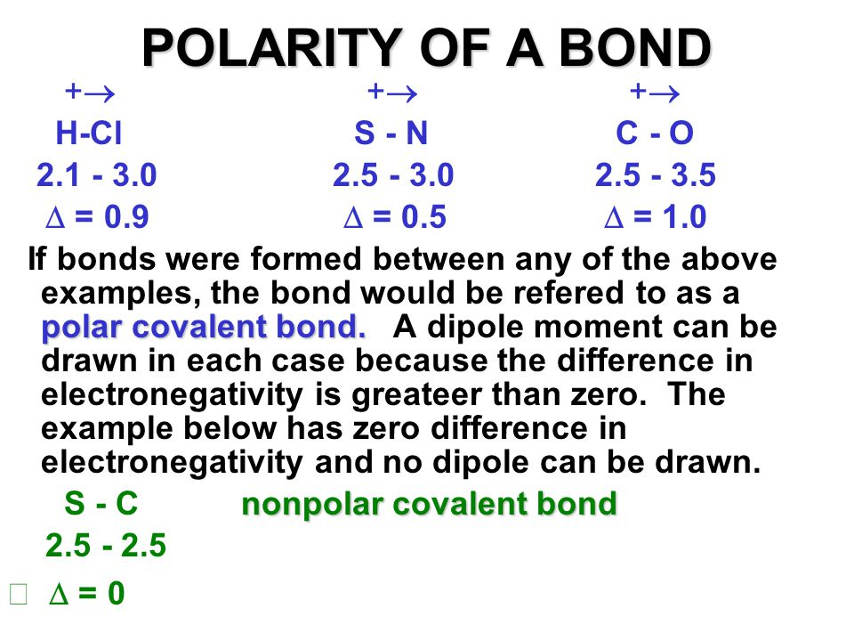 POLARITY OF A BOND +  +  +  H-Cl S - N C - O 2.1 - 3.0 2.5 - 3.0 2.5 - 3.5  = 0.9  = 0.5  = 1.0 polar covalent bond. If bonds were formed betwee