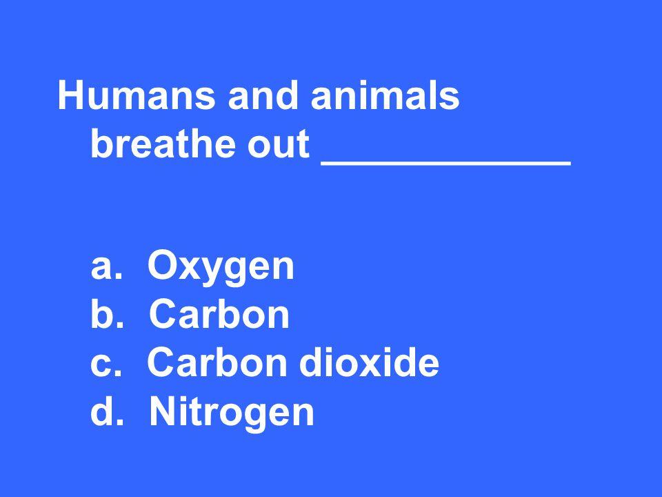 Humans and animals breathe out ___________ a. Oxygen b. Carbon c. Carbon dioxide d. Nitrogen