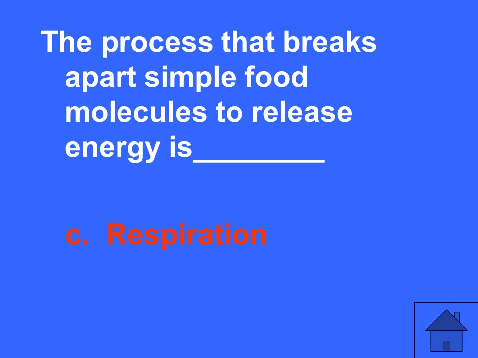 The process that breaks apart simple food molecules to release energy is________ c. Respiration
