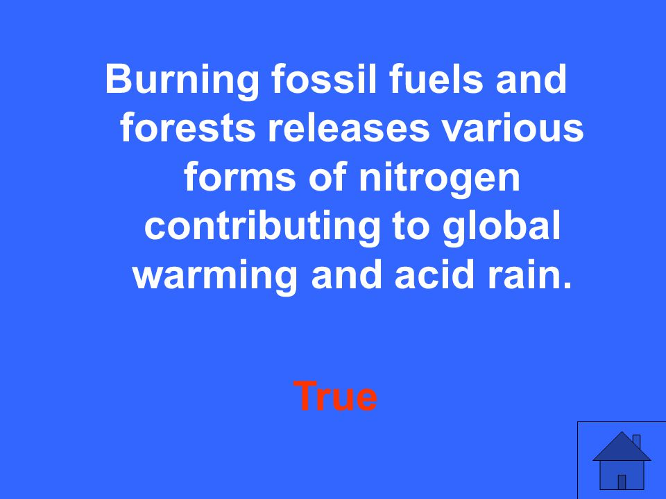 Burning fossil fuels and forests releases various forms of nitrogen contributing to global warming and acid rain.
