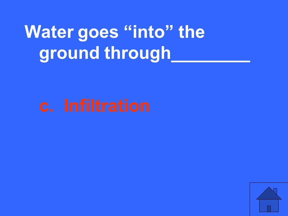 Water goes into the ground through________ c. Infiltration