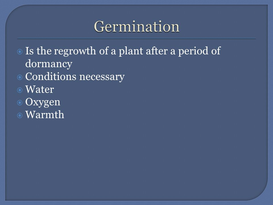  Is the regrowth of a plant after a period of dormancy  Conditions necessary  Water  Oxygen  Warmth