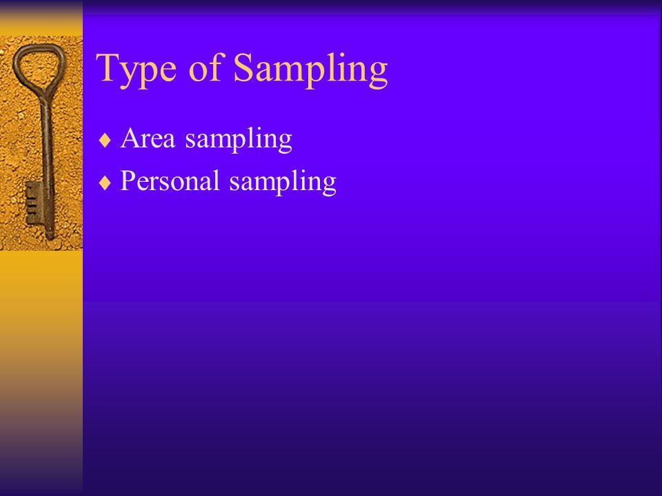 Type of Sampling  Area sampling  Personal sampling
