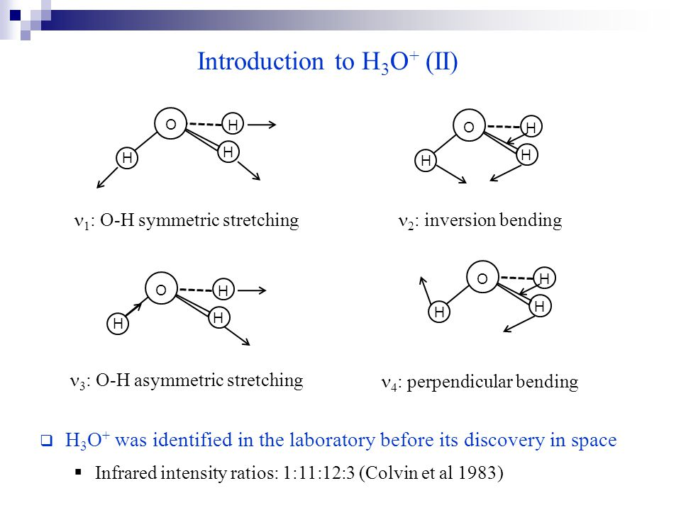 Introduction to H 3 O + (II)  H 3 O + was identified in the laboratory before its discovery in space  Infrared intensity ratios: 1:11:12:3 (Colvin et al 1983) H H H O 1 : O-H symmetric stretching 2 : inversion bending 3 : O-H asymmetric stretching 4 : perpendicular bending H H H O H H H O H H H O