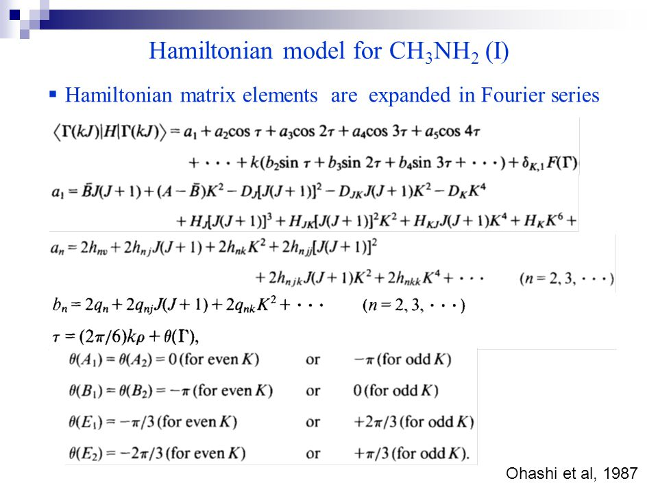 Hamiltonian model for CH 3 NH 2 (I) Ohashi et al, 1987  Hamiltonian matrix elements are expanded in Fourier series