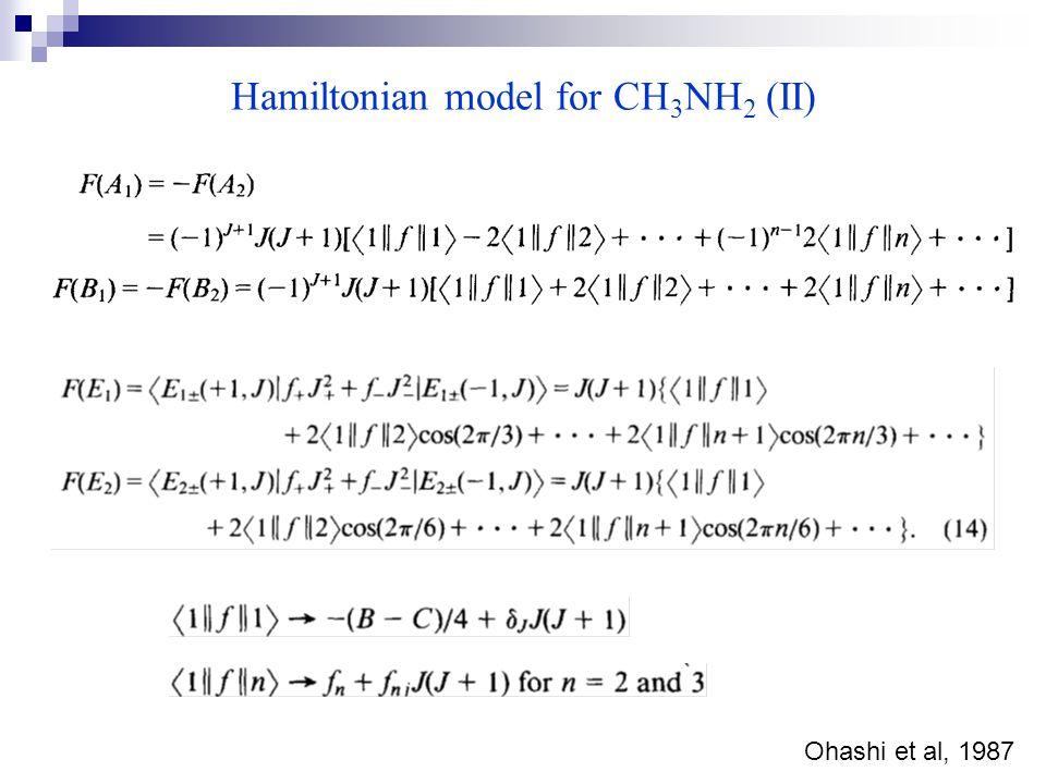 Hamiltonian model for CH 3 NH 2 (II) Ohashi et al, 1987