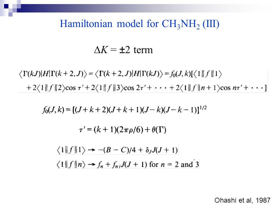 Hamiltonian model for CH 3 NH 2 (III)  K = ±2 term Ohashi et al, 1987