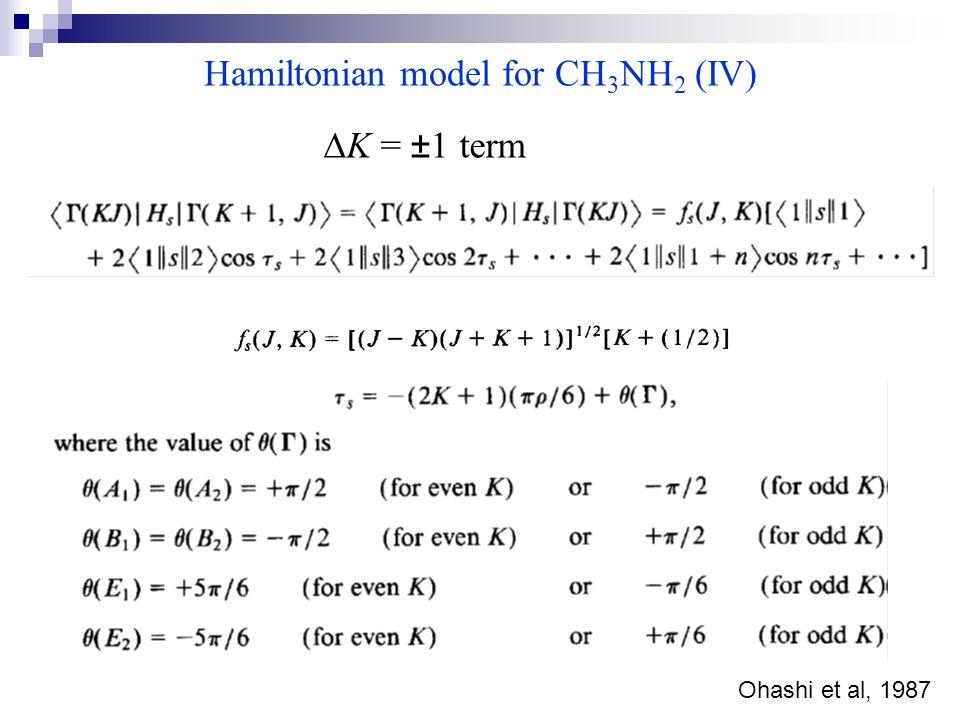 Hamiltonian model for CH 3 NH 2 (IV)  K = ±1 term Ohashi et al, 1987