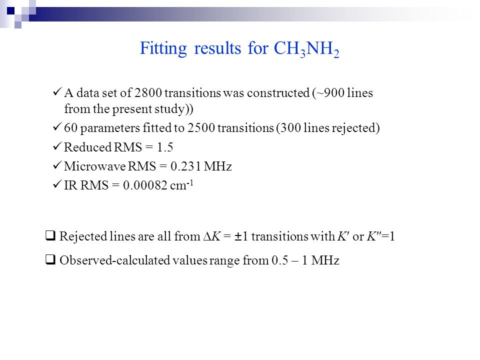 Fitting results for CH 3 NH 2 A data set of 2800 transitions was constructed (~900 lines from the present study)) 60 parameters fitted to 2500 transitions (300 lines rejected) Reduced RMS = 1.5 Microwave RMS = 0.231 MHz IR RMS = 0.00082 cm -1  Rejected lines are all from  K = ±1 transitions with K′ or K″=1  Observed-calculated values range from 0.5 – 1 MHz